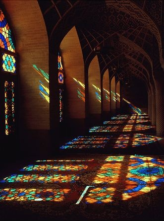 The Sun Streaming Through Beautiful Stained Glass Windows