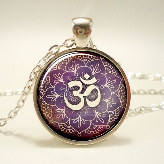 Om Necklace Namaste Yoga Jewelry Lotus Zen Pendant by rainnua, $14.45