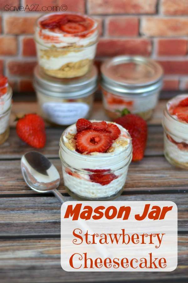 Mason Jar No Bake Strawberry Cheesecake - iSaveA2Z.com