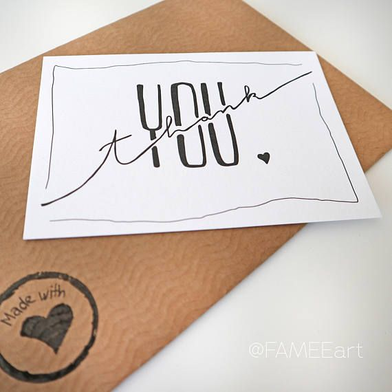 Postkarte Handlettering Tusche Thank you