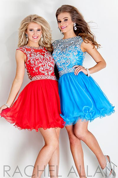 Rachel Allan 6696 - $378.00. beaded. highneck. puffy. skirt. short. red. dress