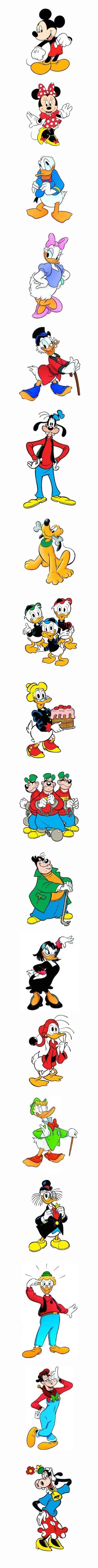 Walt Disney: Topolino, Paperino, Paperina, Topolina, Qui Quo Qua, Paperoga, Zio Paperone, Banda Bassotti, Archimede, Pluto, Pippo, ecc. (Mickey Mouse, Minnie, Goofy, Pluto, Donald Duck, Uncle Scrooge, Daisy Duck & Co.):