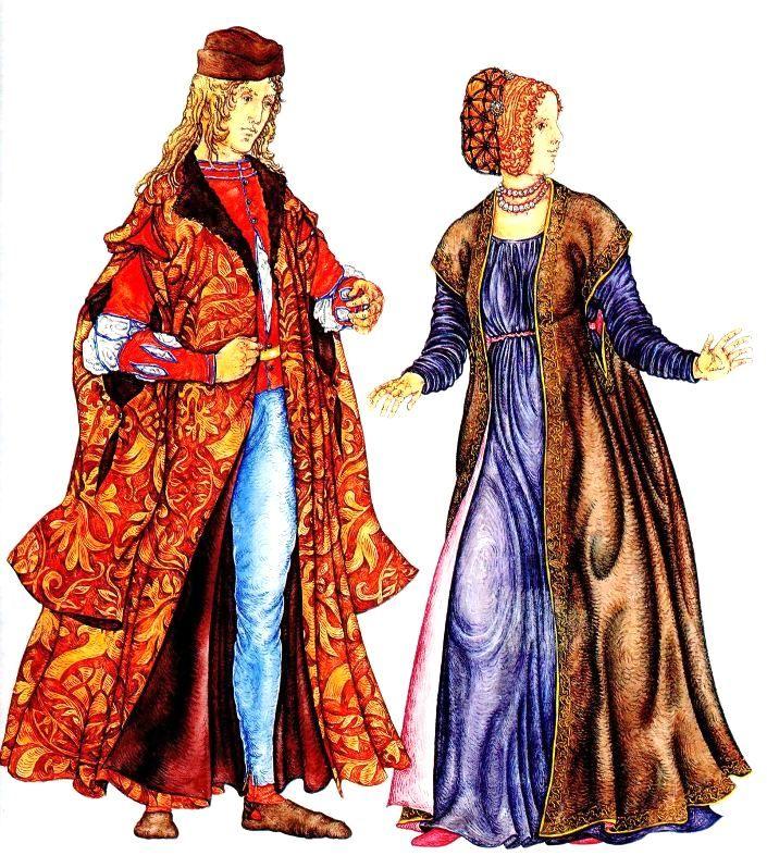 мода Италии эпохи Возрождения. на мужчине: мантия богатого горожанина на женщине: верхняя распашная одежда