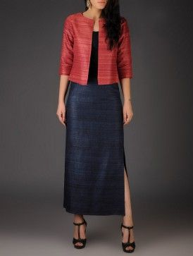 Navy Ghicha Silk Side Slit Skirt
