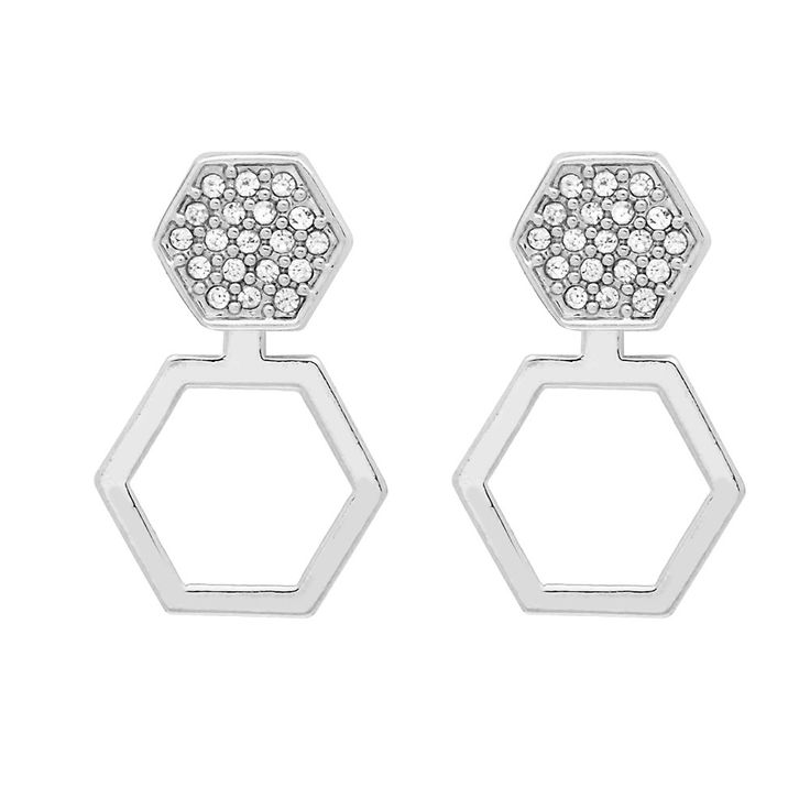 Cleo Ear Jacket in Silver - available in gold and silver. $24. #silverearrings #earjackets #foxyoriginals #silverearjackets #jewelrygift #gift #holidaygift #frontbackearrings
