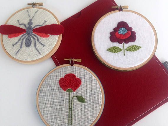Valentine starter pack. Free Shipping. hand embroidered. red poppy. wasp. boho chic flowers. iPad mini case.
