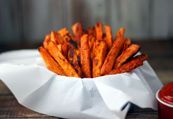 Baked Sweet Potato Fries with Smoked Paprika Recipe - Homemaking Hacks add 2 minced garlic cloves, try wedges.