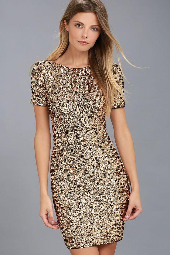 Stunning Gold Sequin Dress - Bodycon Dress - Sequin Bodycon