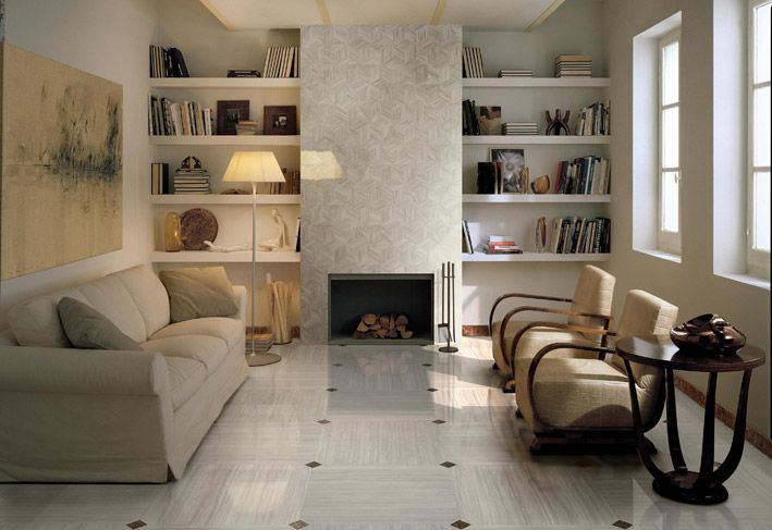 Interior Design, Bookshelves Books Photos Frames Standing Lamp Fireplace Window Wall Abstract Painting Sophisticated Livining Room Brown White Floor Tile Sofa Cushions Coffee Table And Armchairs ~ Wonderful Ceramic Interior On The Floor Design