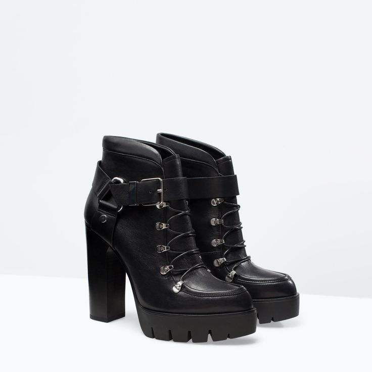 Image 2 of LEATHER HIGH HEELED PLATFORM  ANKLE BOOT from Zara