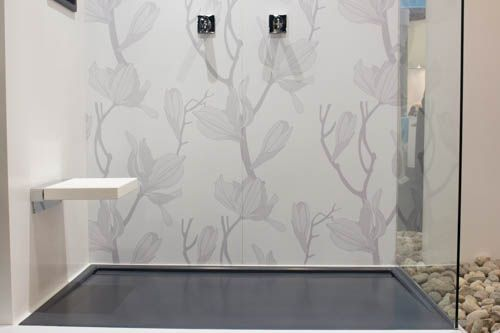 """Our new 60"""" x 36"""" dark grey Glacier shower pan is comprised of our trademark WETMAR BIO, complete with an integral linear-style hidden drain."""
