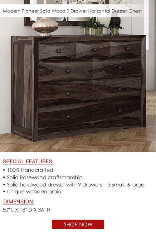 . Modern Pioneer Solid Wood 9 Drawer Dresser Chest in 2019   Dressers