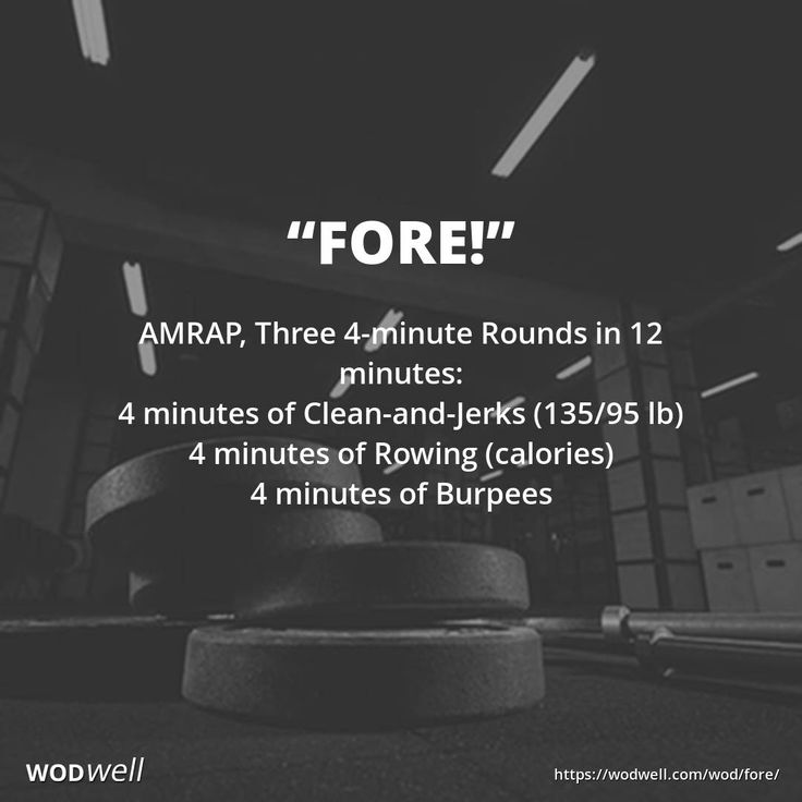 """""""Fore!"""" WOD - AMRAP, Three 4-minute Rounds in 12 minutes: 4 minutes of Clean-and-Jerks (135/95 lb); 4 minutes of Rowing (calories); 4 minutes of Burpees"""
