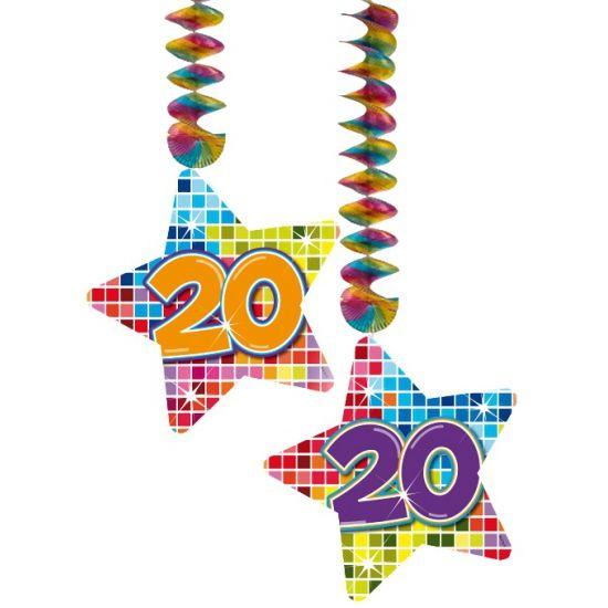 Hangdecoratie sterren 20 jaar. Hangdecoratie in de vorm van sterretjes met het getal 20. De decoratie is verpakt per 2 stuks en is ongeveer 13,3 x 16,5 cm groot.
