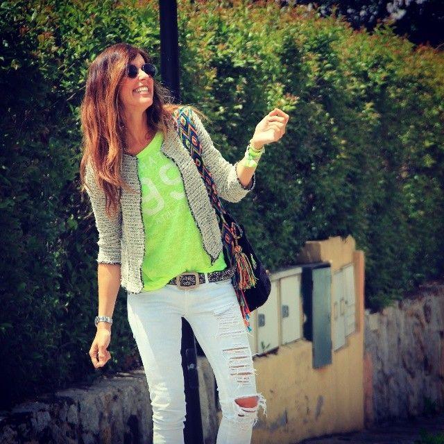 How she wrote it. White jeans, neon green shirt, grey chanel cut jacket. Black #wayuu #mochila Http://etsy.me/1bPJkku