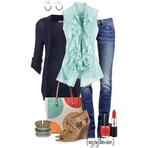 pale aqua & navy w/ a pop of red by enjoytheview on Polyvore