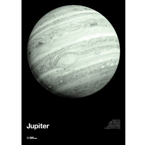 Atomic Printworks Jupiter Screenprint: This glow in the dark print presents a detailed view of the planet Jupiter, with a luminous phosphorescent coating so it really comes alive when the lights are switched off! It also details information including radius, mass, orbital speed and gravity.  This astronomically-themed glowing space poster is very popular with kids and adults alike, and is easily displayed in a standard 700 x 500mm frame.