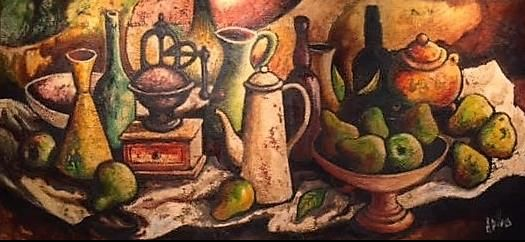 """DiegoVoci™ - """"Still Life"""" 1968, Oil on Sand, 23"""" x """"46. Commissioned by John & Helen Barnhart and recently sold to neighbors Denise & Kent Findley in FL before they moved to be near family in AL. Read the story about DIEGO: https://diegovociproject.wordpress.com/2015/11/27/diegovoci-1967-commission-for-young-lovers-in-germany-part-ii/"""