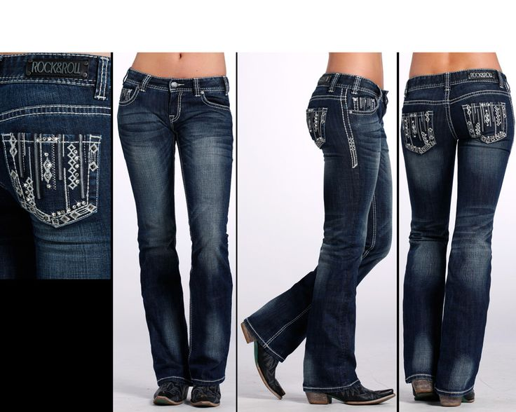 Rock Roll Cowgirl Women39s Boot Cut Jeans W Embroidery