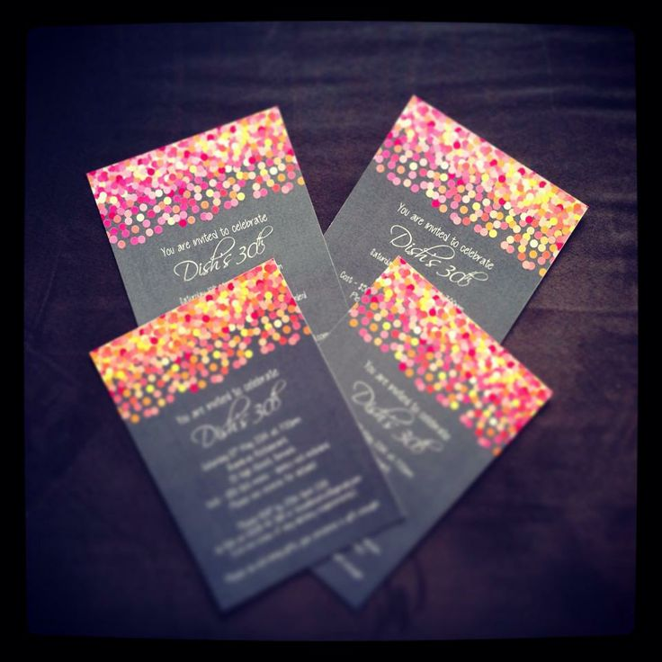 One of my most popular invite designs - colourful confetti! The colours just pop!
