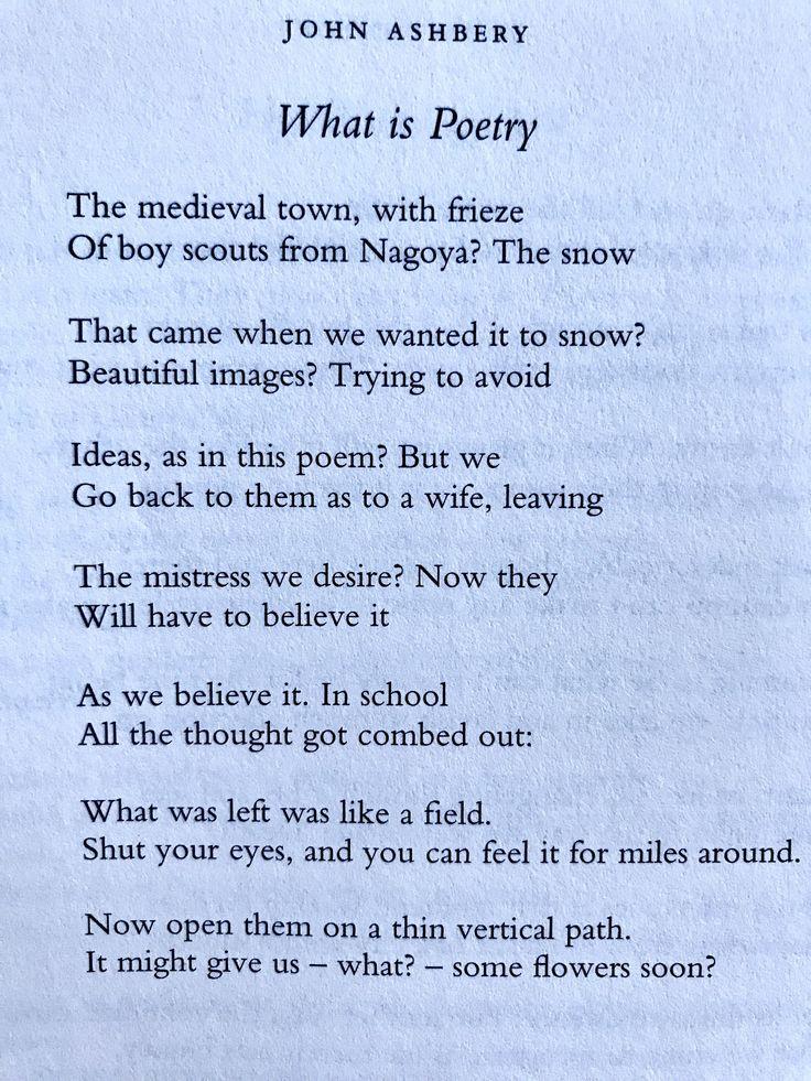 John Ashbery (28 juli 1927 - 3 september 2017), What is Poetry 💞💞💞