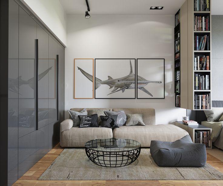 Gravity Interior : Studio apartment Cinza escuro do painel- parede cinza claro da cama e sofá cru- Detalhe das molduras do quadro de diferentes madeira. Tonalidades para o Master bed room