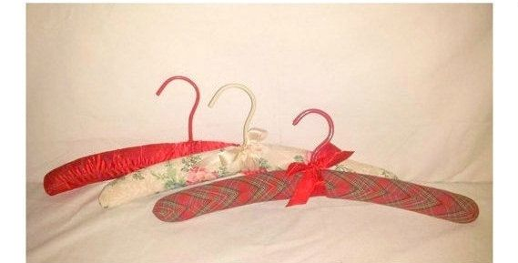 Vintage Satin Covered Hangers, Set of 3,Fabric Hangers,Padded Hangers,Red,Green,French Country,Cottage Chic,Lingerie Hangers,Wedding http://etsy.me/2nd7y4h #furniture #storage #red #bacheloretteparty #christmas #green #fabrichangers #paddedhangers #cottagechic