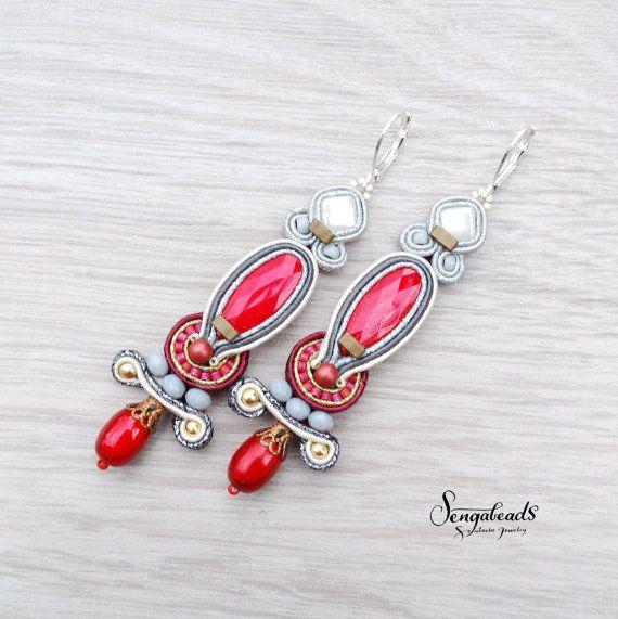 Long very red soutache earrings. Sterling silver by Sengabeads