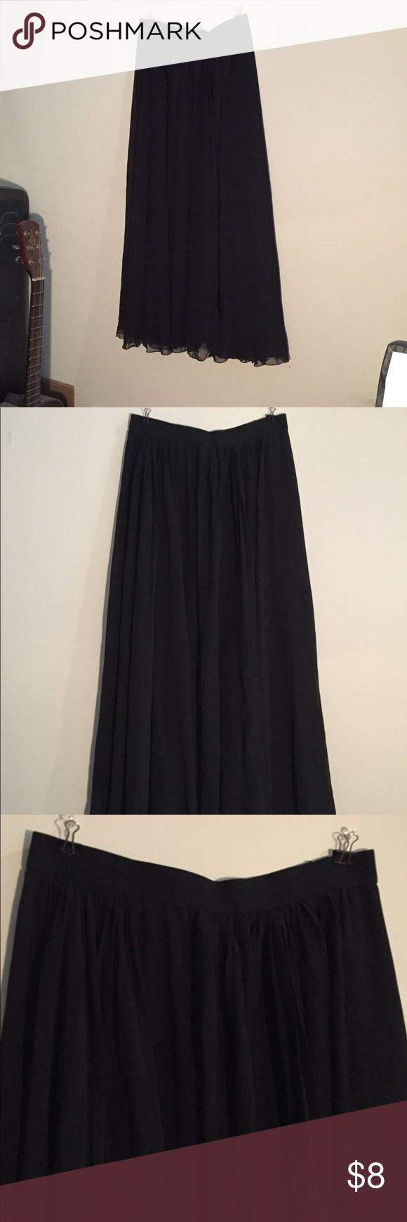 Small Uniqlo High waist black skirt Small black maxi skirt.   26-27 inch waist.  Fits small! Uniqlo Skirts Maxi