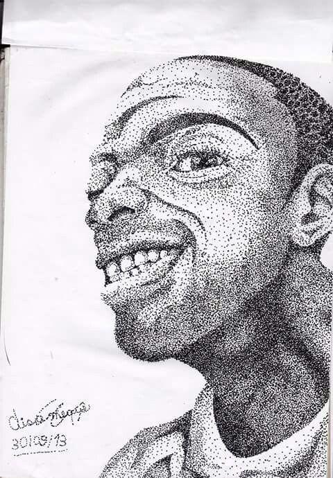 auto retrato com pontilhismo  caneta nanquim