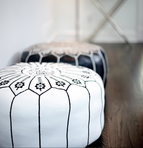 Embroidered leather ottomans  :)
