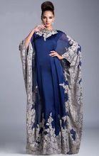 Amostras reais Custom Made árabe Dubai Abaya Kaftan vestidos de azul Emboridery Chiffon mãe da noiva(China (Mainland))