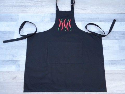 Zástěra chilli papričky modrá kuchyně bavlna grilování stolování černá vyšívání veselý kuchař chňapka vaření hravý zástěra pečení jídlo gril chilli papričky kanafas šití+návrhářství