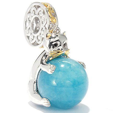 136-552 - Gems en Vogue 12mm Round Gemstone Bead Kitten Drop Charm