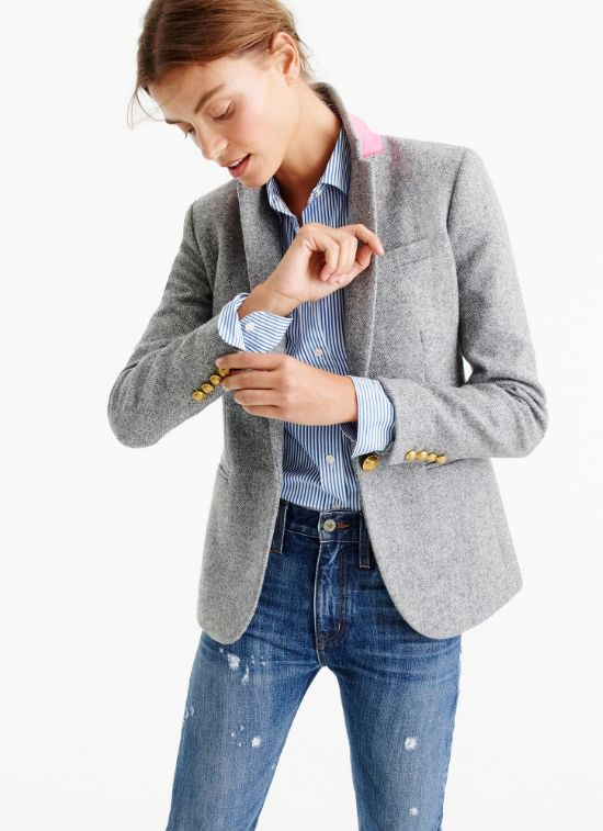Wool Blazer with Pink Felt Undercollar