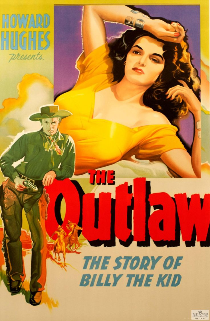 """""""The Outlaw: The Story of Billy the Kid"""" Vintage Movie Poster Lithograph for sale $395 #lithograph #art #movies #movieposter #billythekid #westernmovies #western #classicwestern #vintage #cowboys #theoutlaw #howardhughes"""