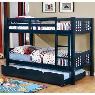 "Furniture of America Pello 2-piece Twin over Twin Bunk Bed with Trundle | Overstock.com Shopping - The Best Deals on Kids' Beds 60""H"