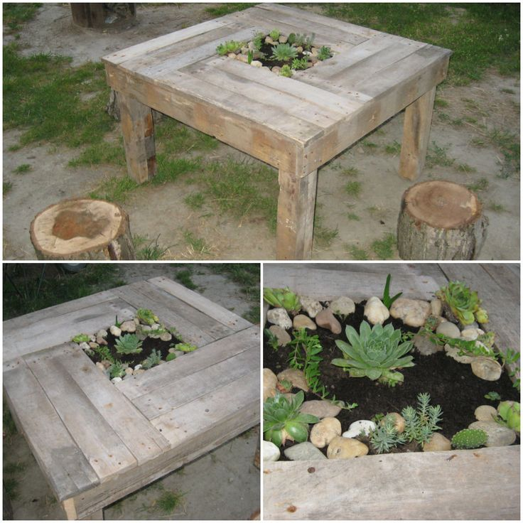 Pallet table with decorative plants