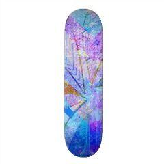 Vibrant Colorful Funky Blue Purple Butterfly Chevr Skate Deck | Skateboards for Girls