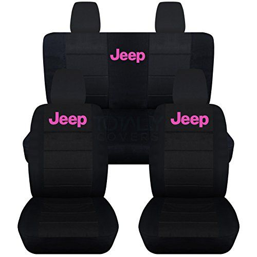 Jeep Wrangler JK (2011 to 2016) Black Seat Covers with Jeep: Black with Hot Pink - Full Set (22 Colors Available) Designcovers