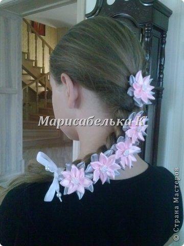 Мастер-класс Украшение Цумами Канзаши Лента в косу Бусины Клей Ленты фото 1