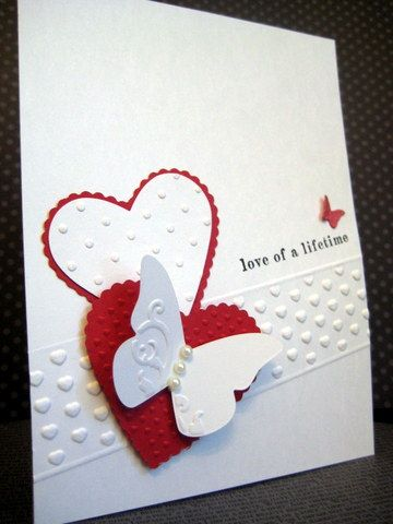 handmade Valentine/wedding card ... mostly white with touches of red ... simply beautiful ... Stampin' Up!