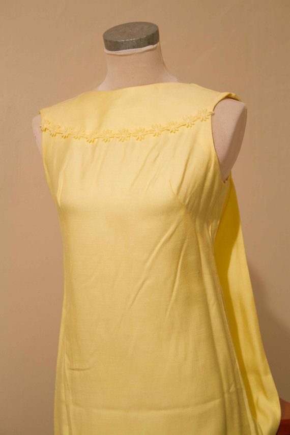 1960's Long Yellow Dress by GonePostalVintage on Etsy, $50.00