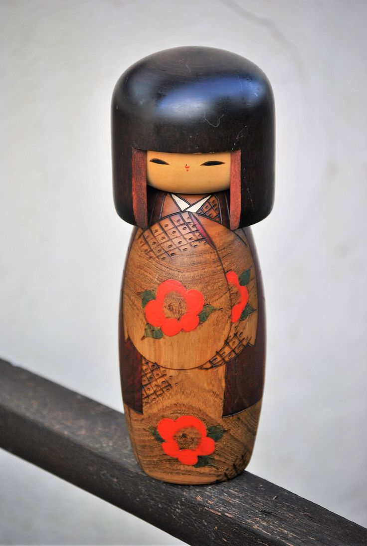Large Beautiful Wooden Kokeshi Doll. Exquisite Japanese Handmade Doll in Traditional Dress with Unique Wood Grain Finish. Wonderful Decor! by Joolzandnico on Etsy