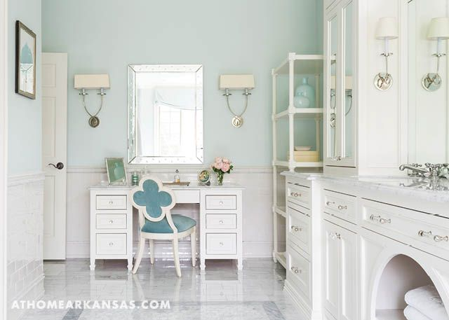 Designer Melissa Haynes creates a serene bedroom and bath for an on-the-go pair of Fayetteville doctors | Calming Trend | At Home in Arkansas | June 2017 | Bathroom | Blue | White | Carerra Marble | Bardiglio Marble Tile