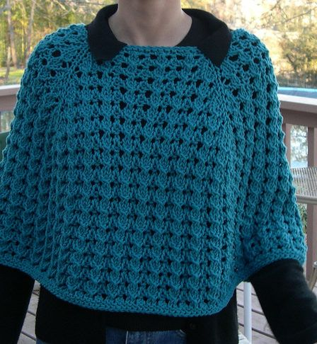 Knit In The Round Poncho Pattern : Free Knitting Pattern for Raglan Lace Poncho - Top down circular lace poncho ...