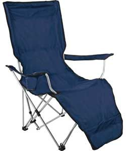 Folding Camping Lounger with Retractable Footrest.