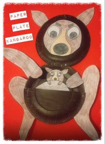 """Paper Plate Kangaroo craft for children to create. By mish mash of arts,crafts and activities blog. Www.mishmasharts.blogspot.com) """"K is for Kangaroo"""" another paper plate animal craft."""