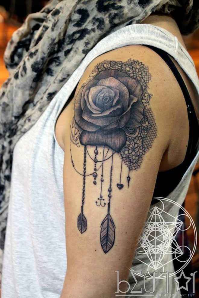 Rose Lace Front chest Tattoo - Google Search