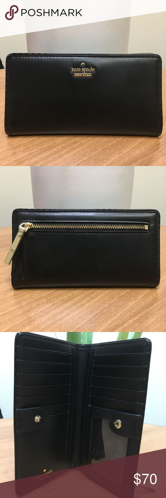 Kate Spade Wallet Kate Spade Stacy Wallet Smooth Black Leather.   New from a KS Sample sale kate spade Bags Wallets